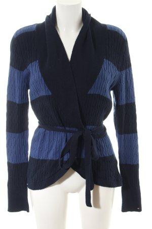 Tommy Hilfiger Strick Cardigan schwarz-blau Streifenmuster Casual-Look
