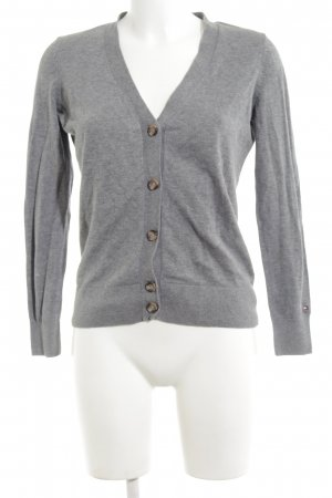 Tommy Hilfiger Strick Cardigan hellgrau meliert Business-Look