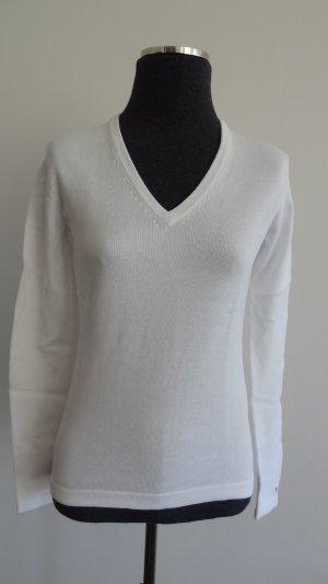 Tommy Hilfiger Strick-Pullover mit V-Ausschnitt weiß, Gr. S