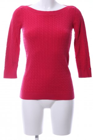 Tommy Hilfiger Strickpullover rot Zopfmuster Casual-Look