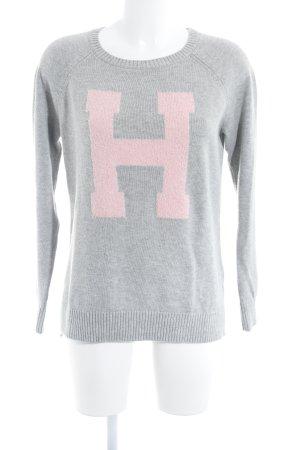 Tommy Hilfiger Strickpullover grau-rosa Monogram-Muster Casual-Look