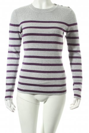 Tommy Hilfiger Strickpullover hellgrau-lila Streifenmuster Casual-Look