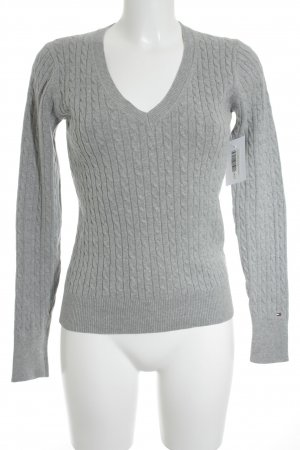 Tommy Hilfiger Strickpullover hellgrau Zopfmuster Casual-Look