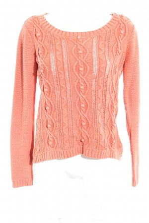 Tommy Hilfiger Strickpullover neonorange Lochstrickmuster Casual-Look