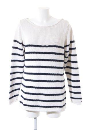 Tommy Hilfiger Pull tricoté blanc cassé-bleu foncé motif rayé
