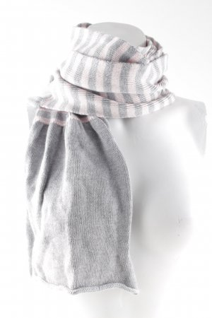 Tommy Hilfiger Bufanda de punto gris claro-rosa estampado a rayas mullido