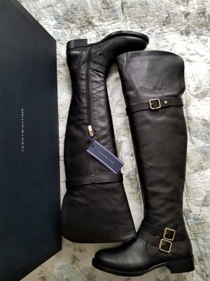 TOMMY HILFIGER stylische Overknee Stiefel, NEU; Gr. 38, 100%Leder, 60cm!