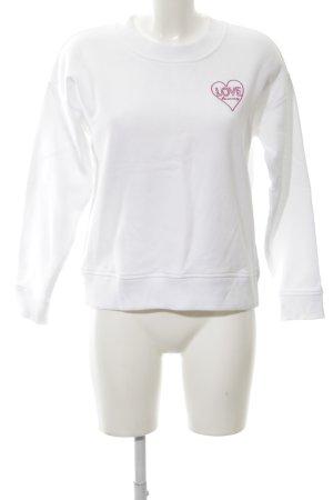 Tommy Hilfiger Sweatshirt weiß-pink Schriftzug gedruckt Casual-Look