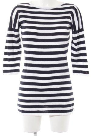 Tommy Hilfiger Sweat Shirt black-white striped pattern athletic style
