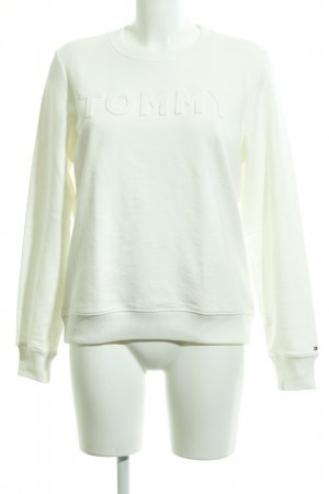 Tommy Hilfiger Suéter blanco letras bordadas look casual