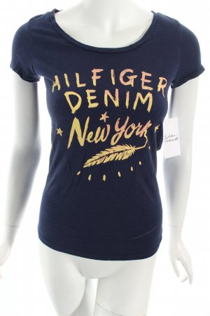 Tommy Hilfiger T-Shirt dunkelblau-dunkelorange Motivdruck Street-Fashion-Look