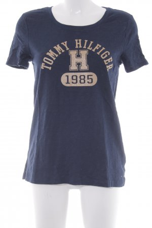 Tommy Hilfiger T-Shirt dunkelblau-goldfarben grafisches Muster Casual-Look