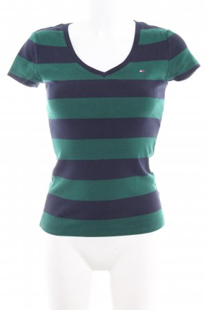 Tommy Hilfiger T-Shirt dark blue-forest green striped pattern casual look