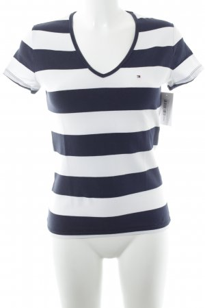 Tommy Hilfiger T-shirt blu scuro-bianco strisce orizzontali stile casual