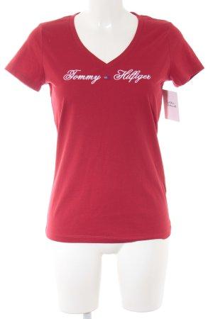Tommy Hilfiger T-Shirt dunkelrot-weiß Schriftzug gestickt Casual-Look