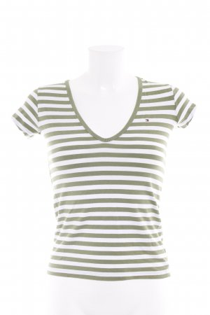 Tommy Hilfiger T-Shirt grasgrün-weiß Streifenmuster Casual-Look
