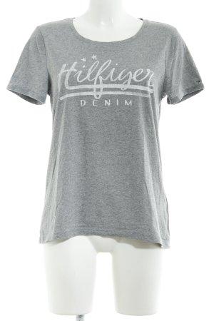 Tommy Hilfiger T-Shirt grau-weiß Schriftzug gedruckt Casual-Look