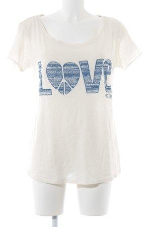 Tommy Hilfiger T-Shirt hellbeige-blau Schriftzug gedruckt Casual-Look