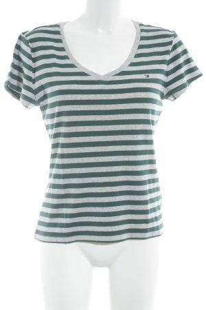 Tommy Hilfiger T-Shirt hellgrau-waldgrün Streifenmuster Casual-Look