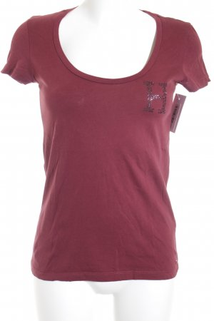 Tommy Hilfiger T-Shirt karminrot-rostrot Motivdruck Casual-Look
