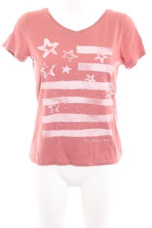 Tommy Hilfiger T-Shirt lachs-weiß Motivdruck Casual-Look