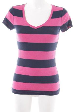 Tommy Hilfiger T-Shirt magenta-dunkelblau Streifenmuster sportlicher Stil