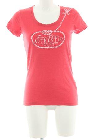 Tommy Hilfiger T-Shirt magenta-weiß platzierter Druck Casual-Look