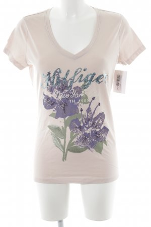 Tommy Hilfiger T-Shirt neonblau-altrosa florales Muster Casual-Look