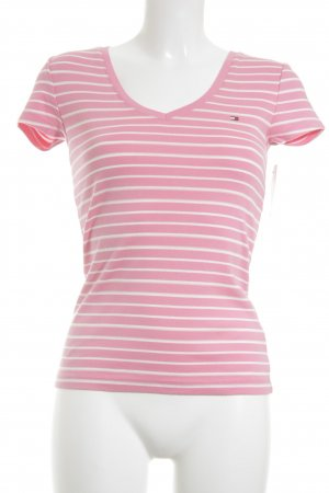 Tommy Hilfiger T-Shirt neon pink-white striped pattern casual look