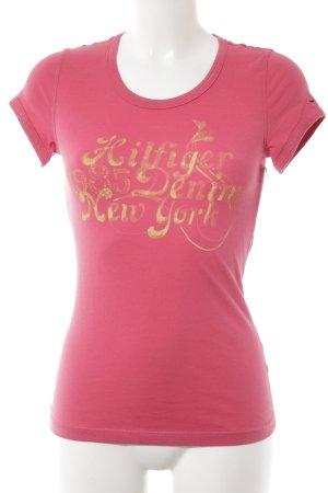 Tommy Hilfiger T-Shirt rosa-dunkelgelb Schriftzug gedruckt Casual-Look