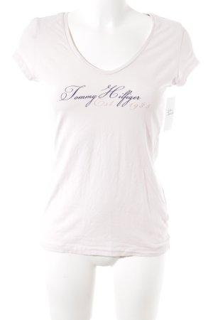 Tommy Hilfiger T-shirt rosa pallido-blu scuro caratteri stampati stile casual