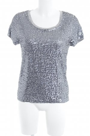 Tommy Hilfiger T-Shirt silberfarben-hellgrau Glitzer-Optik