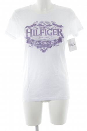 Tommy Hilfiger T-shirt bianco-viola Stampa a tema stile casual