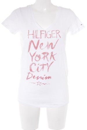 Tommy Hilfiger T-Shirt weiß-lachs Schriftzug gedruckt sportlicher Stil