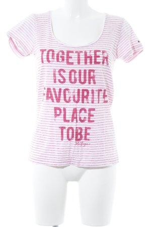 Tommy Hilfiger T-Shirt weiß-magenta Schriftzug gedruckt Casual-Look