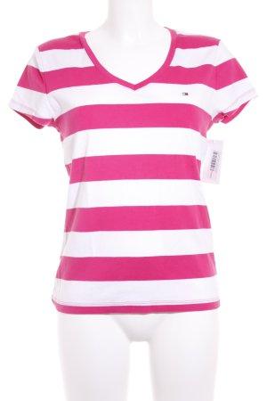 Tommy Hilfiger T-Shirt weiß-pink Streifenmuster klassischer Stil