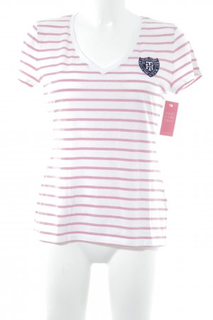 Tommy Hilfiger T-Shirt weiß-rosa Streifenmuster Casual-Look