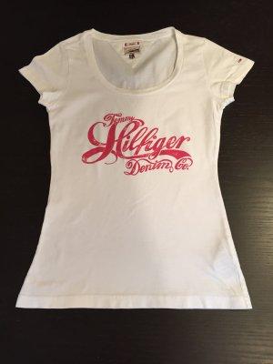 Tommy Hilfiger Tshirt weiß mit rotem Aufdruck Gr.S