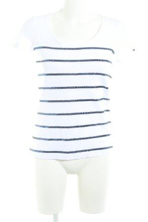Tommy Hilfiger U-Boot-Shirt wollweiß-dunkelblau Streifenmuster Casual-Look