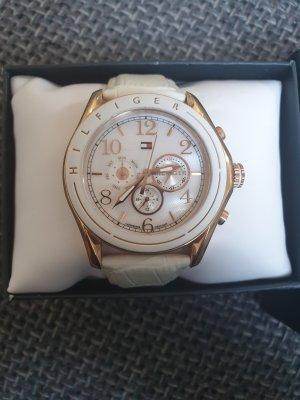 Tommy Hilfiger Reloj con pulsera de cuero blanco-color oro