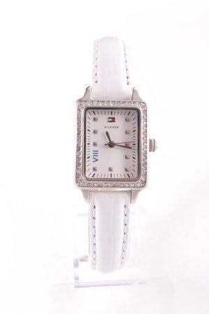 Tommy Hilfiger Montre avec bracelet en cuir blanc style décontracté