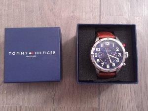 Tommy Hilfiger Horloge met lederen riempje cognac-donkerblauw