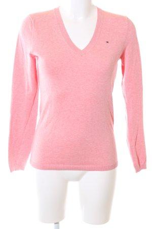 Tommy Hilfiger V-Ausschnitt-Pullover pink meliert Casual-Look