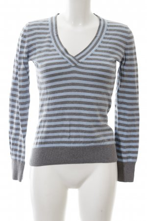 Tommy Hilfiger V-Ausschnitt-Pullover blau-hellgrau Streifenmuster Casual-Look