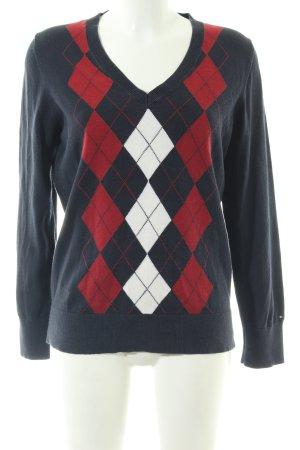 Tommy Hilfiger V-Ausschnitt-Pullover grafisches Muster Business-Look