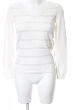 Tommy Hilfiger V-Neck Sweater white-light grey striped pattern casual look