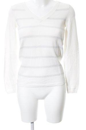 Tommy Hilfiger V-Ausschnitt-Pullover weiß-hellgrau Streifenmuster Casual-Look