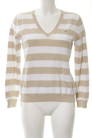 Tommy Hilfiger V-Ausschnitt-Pullover weiß-creme Streifenmuster Casual-Look