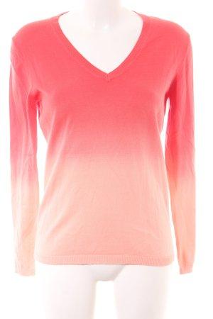 Tommy Hilfiger V-Ausschnitt-Pullover rot-creme Farbverlauf Casual-Look