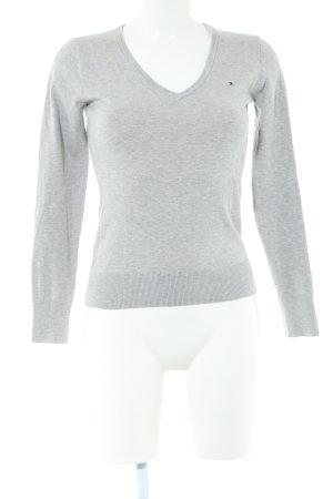 Tommy Hilfiger V-Ausschnitt-Pullover hellgrau schlichter Stil